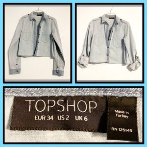 TOPSHOP Chambray Cropped Button Tab Sleeve Top